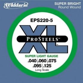 5-String ProSteels Bass Guitar Strings, Super Light, 40-125, Long Scale