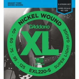 5-String Nickel Wound Bass Guitar Strings, Super Light, 40-125, Long Scale