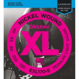 5-String Nickel Wound Bass Guitar Strings, Light, 45-130, Long Scale