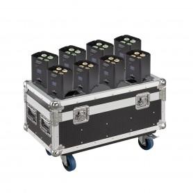 Set di 8 PAR a LED 4x12W RGBW 4in1 con batteria al litio e flight case con funzione di ricarica